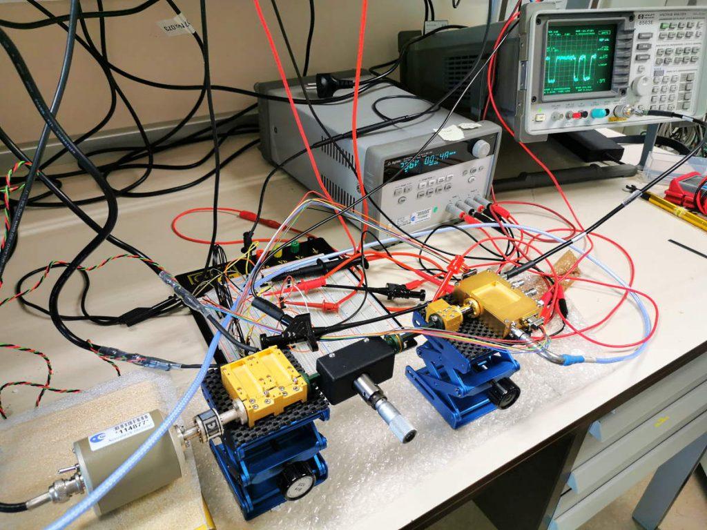 ELVA-1 IMPATT noise source on test-bench in the lab of European Space Agency, ESTEC (Noordwijk, The Netherlands)